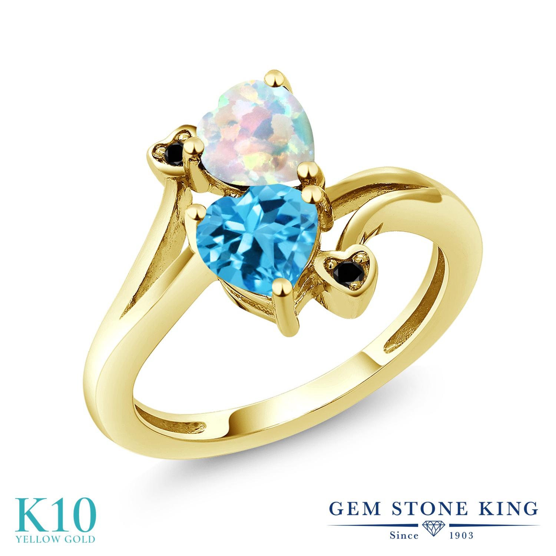 Gem Stone King 1.73カラット シミュレイテッド ホワイトオパール 天然 スイスブルートパーズ 天然ブラックダイヤモンド 10金 イエローゴールド(K10) 指輪 リング レディース ダブルストーン 10月 誕生石 金属アレルギー対応 誕生日プレゼント