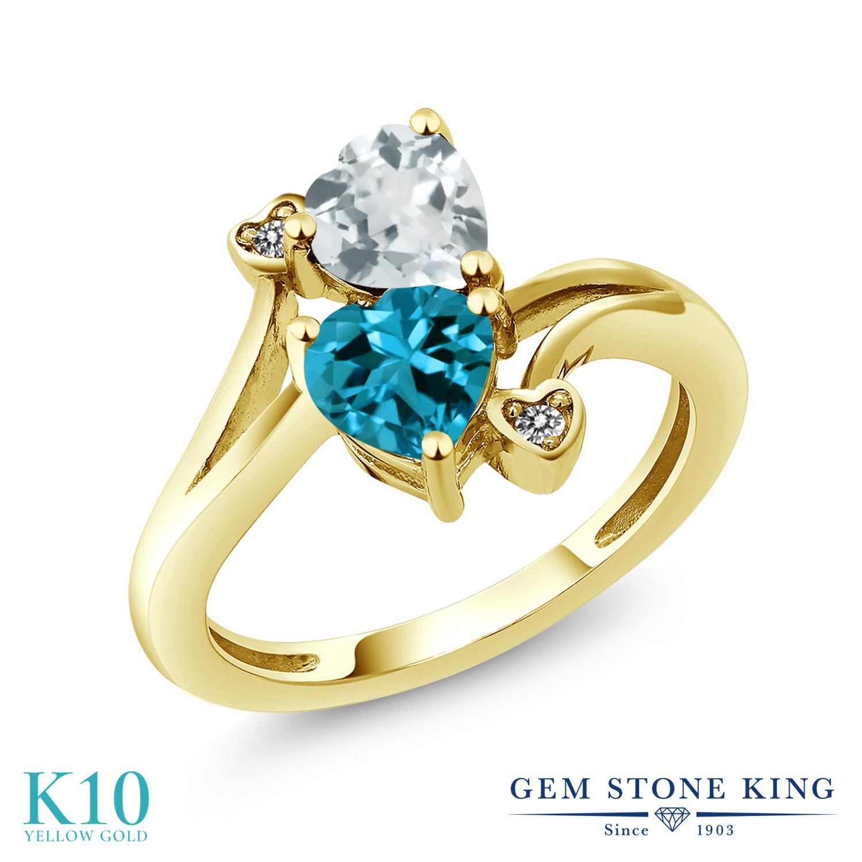 Gem Stone King 1.65カラット 天然 アクアマリン 天然 ロンドンブルートパーズ 天然 ダイヤモンド 10金 イエローゴールド(K10) 指輪 リング レディース ダブルストーン 天然石 3月 誕生石 金属アレルギー対応 誕生日プレゼント