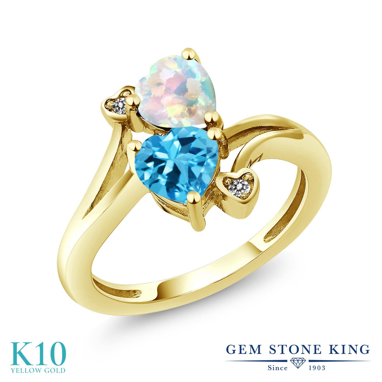 Gem Stone King 1.73カラット シミュレイテッド ホワイトオパール 天然 スイスブルートパーズ 天然 ダイヤモンド 10金 イエローゴールド(K10) 指輪 リング レディース ダブルストーン 10月 誕生石 金属アレルギー対応 誕生日プレゼント