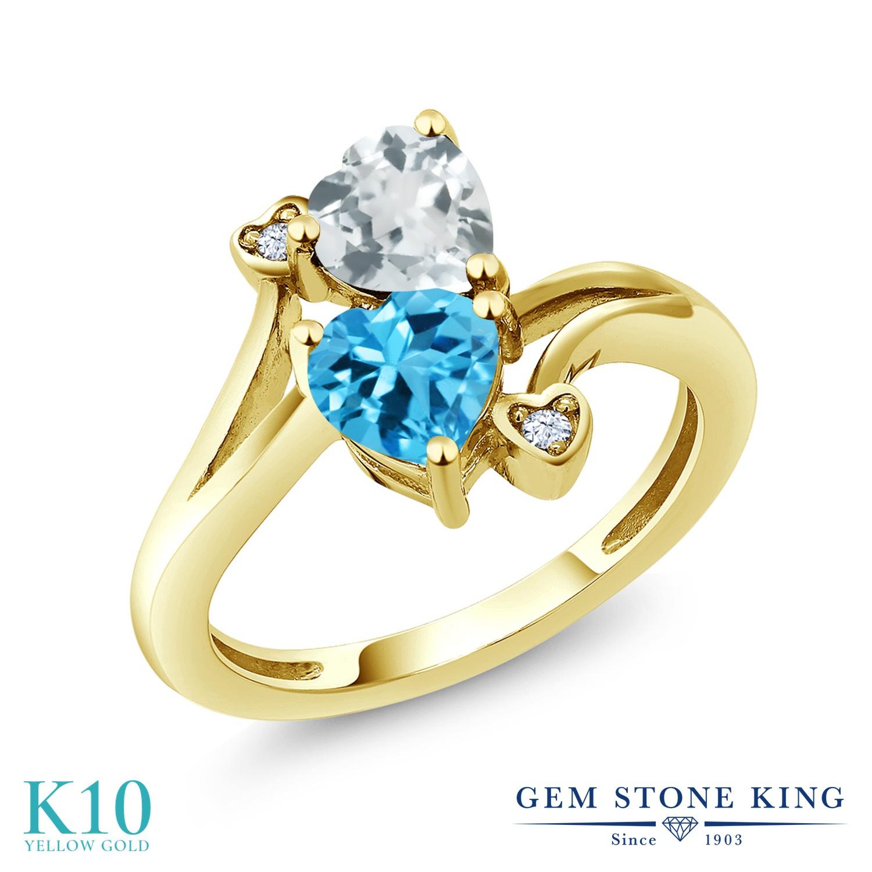 Gem Stone King 1.65カラット 天然 アクアマリン 天然 スイスブルートパーズ 10金 イエローゴールド(K10) 指輪 リング レディース ダブルストーン 天然石 3月 誕生石 金属アレルギー対応 誕生日プレゼント