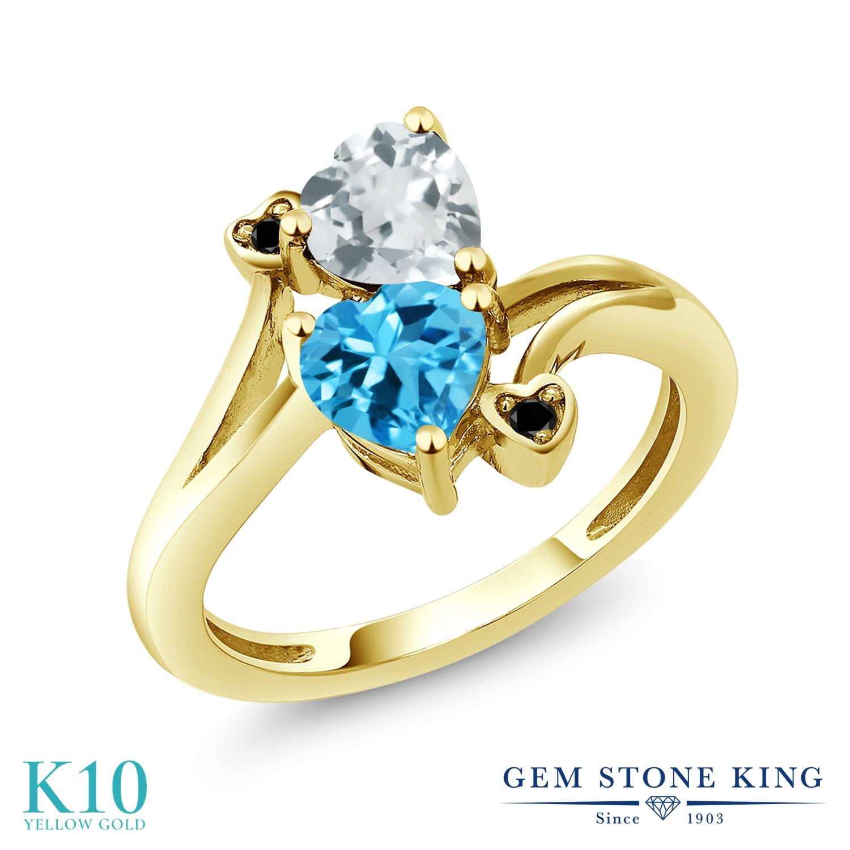 Gem Stone King 1.65カラット 天然 アクアマリン 天然 スイスブルートパーズ 天然ブラックダイヤモンド 10金 イエローゴールド(K10) 指輪 リング レディース ダブルストーン 天然石 3月 誕生石 金属アレルギー対応 誕生日プレゼント