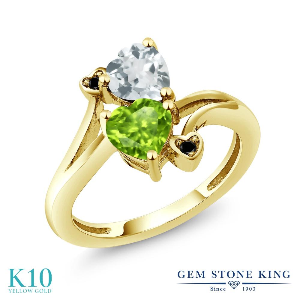 Gem Stone King 1.53カラット 天然石 ペリドット 天然 アクアマリン 天然ブラックダイヤモンド 10金 イエローゴールド(K10) 指輪 リング レディース ダブルストーン 天然石 8月 誕生石 金属アレルギー対応 誕生日プレゼント