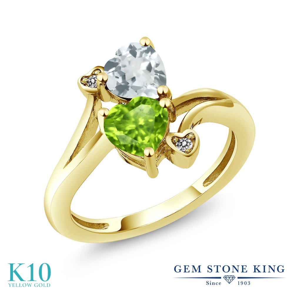 Gem Stone King 1.53カラット 天然石 ペリドット 天然 アクアマリン 天然 ダイヤモンド 10金 イエローゴールド(K10) 指輪 リング レディース ダブルストーン 天然石 8月 誕生石 金属アレルギー対応 誕生日プレゼント