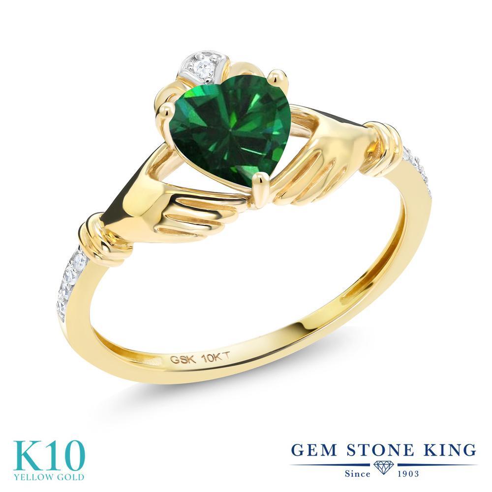 【10%OFF】 Gem Stone King 0.74カラット ナノエメラルド 天然 ダイヤモンド 指輪 リング レディース 10金 イエローゴールド K10 クラダ クリスマスプレゼント 女性 彼女 妻 誕生日