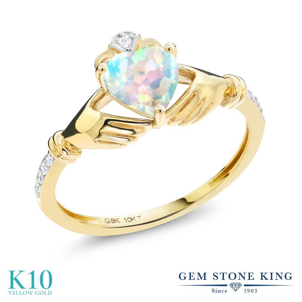【10%OFF】 Gem Stone King 0.81カラット シミュレイテッド ホワイトオパール 天然 ダイヤモンド 指輪 リング レディース 10金 イエローゴールド K10 クラダ 10月 誕生石 クリスマスプレゼント 女性 彼女 妻 誕生日