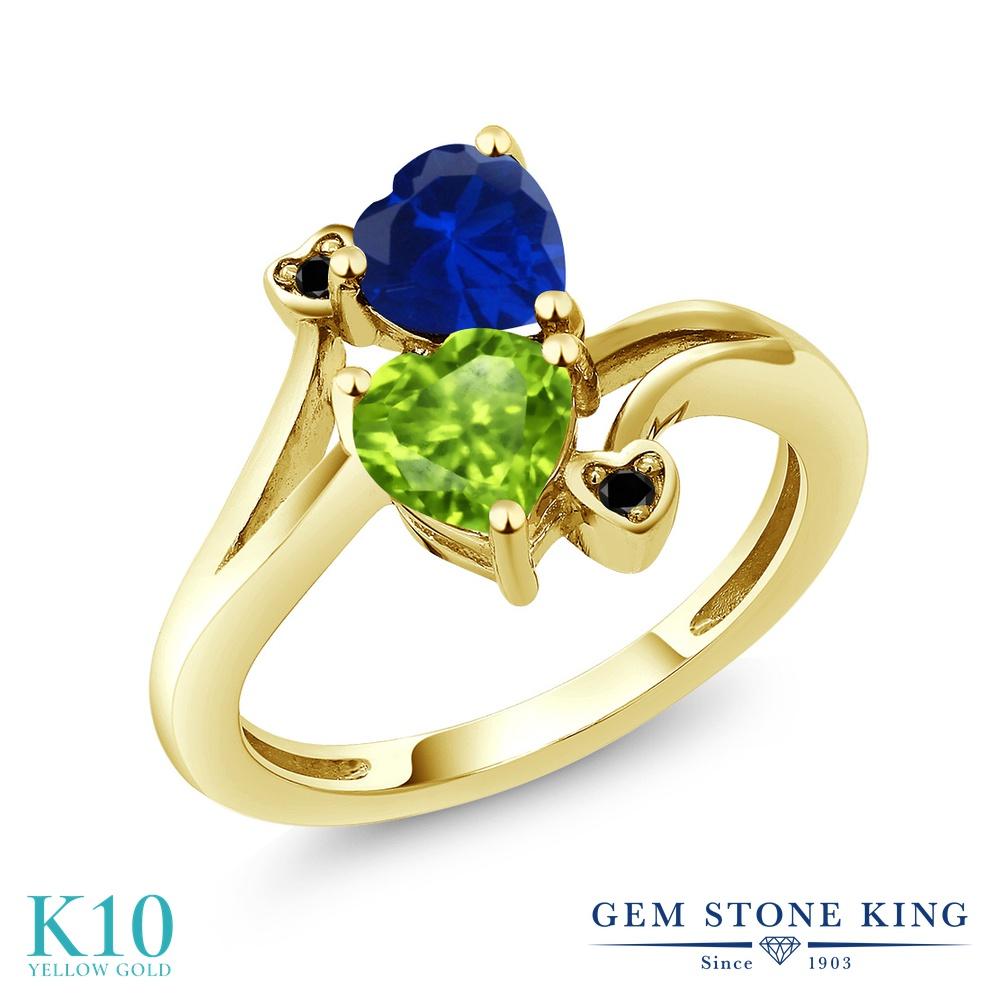 Gem Stone King 1.66カラット 天然石 ペリドット シミュレイテッド サファイア 天然ブラックダイヤモンド 10金 イエローゴールド(K10) 指輪 リング レディース ダブルストーン 天然石 8月 誕生石 金属アレルギー対応 誕生日プレゼント
