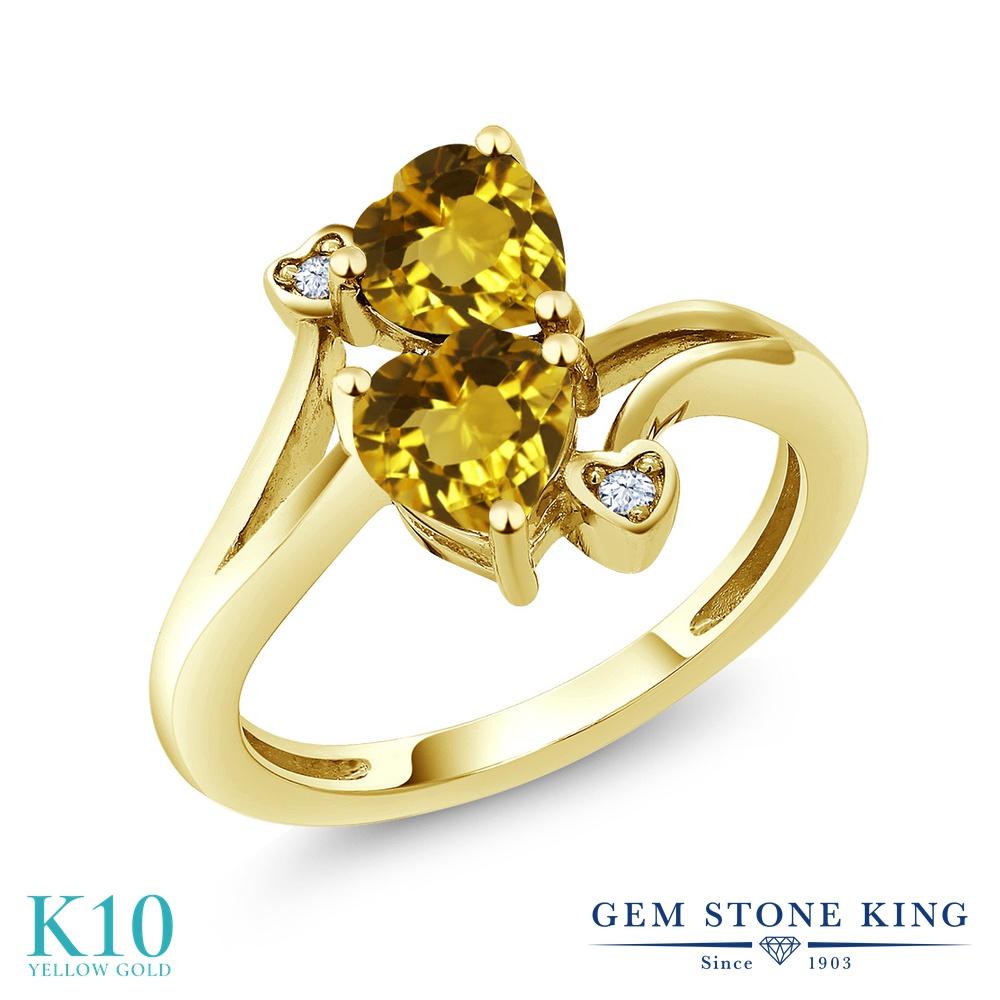 【10%OFF】 Gem Stone King 1.43カラット 天然 シトリン 指輪 リング レディース 10金 イエローゴールド K10 ダブルストーン 天然石 11月 誕生石 クリスマスプレゼント 女性 彼女 妻 誕生日