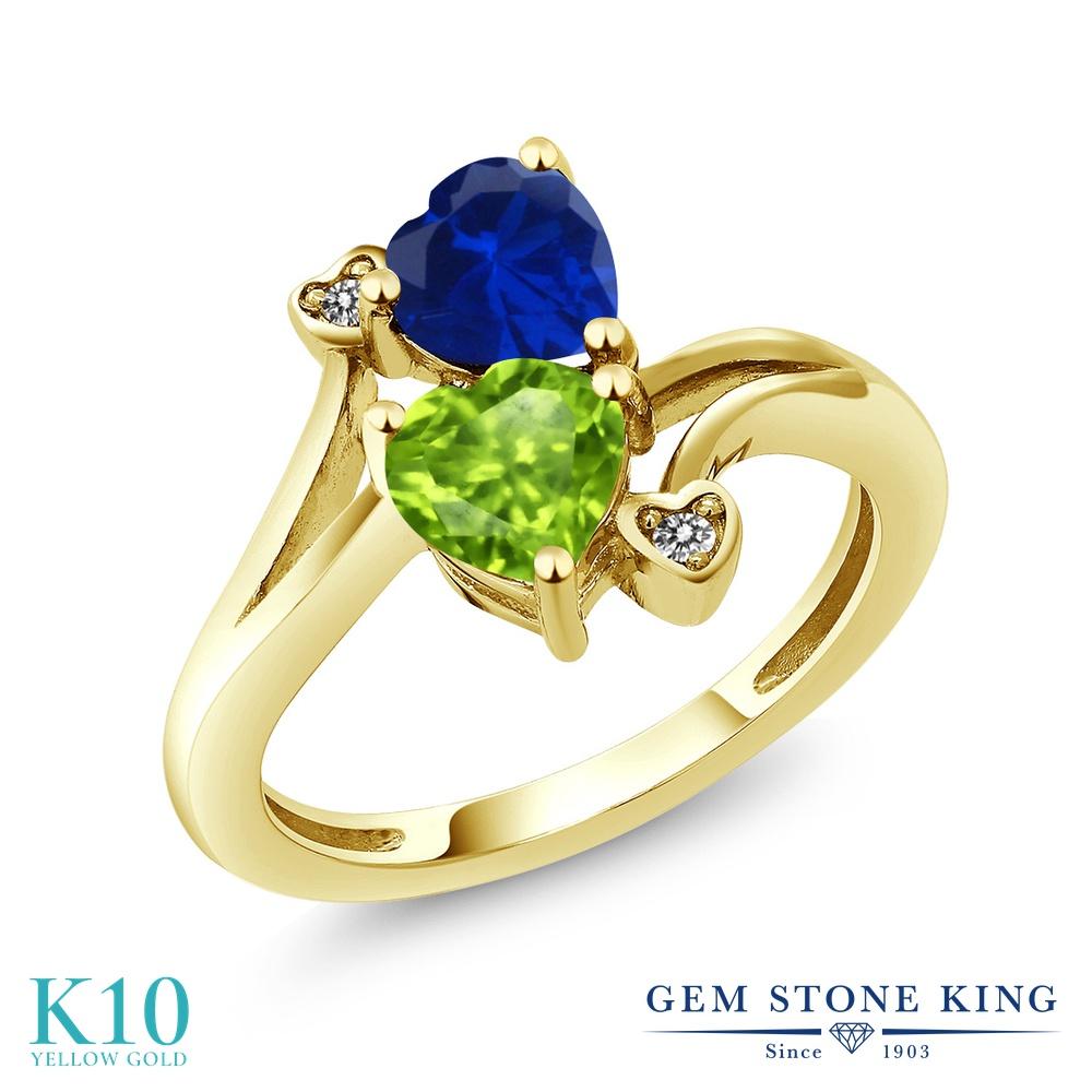 Gem Stone King 1.66カラット 天然石 ペリドット シミュレイテッド サファイア 天然 ダイヤモンド 10金 イエローゴールド(K10) 指輪 リング レディース ダブルストーン 天然石 8月 誕生石 金属アレルギー対応 誕生日プレゼント
