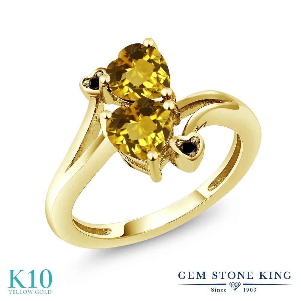 【10%OFF】 Gem Stone King 1.43カラット 天然 シトリン ブラックダイヤモンド 指輪 リング レディース 10金 イエローゴールド K10 ダブルストーン 天然石 11月 誕生石 クリスマスプレゼント 女性 彼女 妻 誕生日