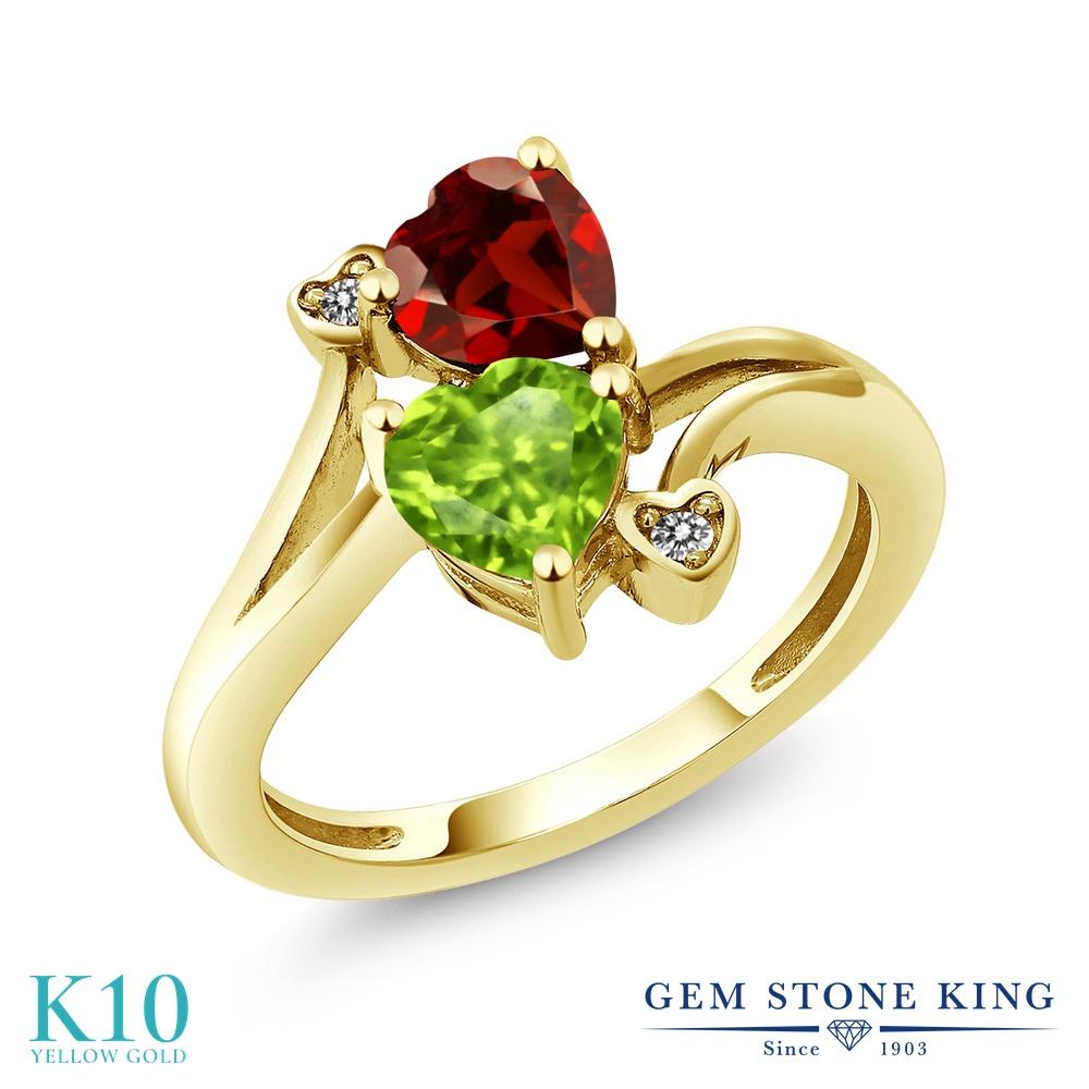 Gem Stone King 1.76カラット 天然石 ペリドット 天然 ガーネット 天然 ダイヤモンド 10金 イエローゴールド(K10) 指輪 リング レディース ダブルストーン 天然石 8月 誕生石 金属アレルギー対応 誕生日プレゼント