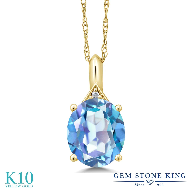 Gem Stone King 4.02カラット 天然 ミスティッククォーツ (ミレニアムブルー) 天然 ダイヤモンド 10金 イエローゴールド(K10) ネックレス ペンダント レディース 大粒 シンプル 天然石 金属アレルギー対応 誕生日プレゼント
