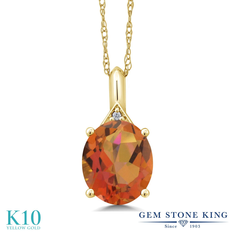 Gem Stone King 4.02カラット 天然 ミスティッククォーツ (トワイライトオレンジ) 天然 ダイヤモンド 10金 イエローゴールド(K10) ネックレス ペンダント レディース 大粒 シンプル 天然石 金属アレルギー対応 誕生日プレゼント