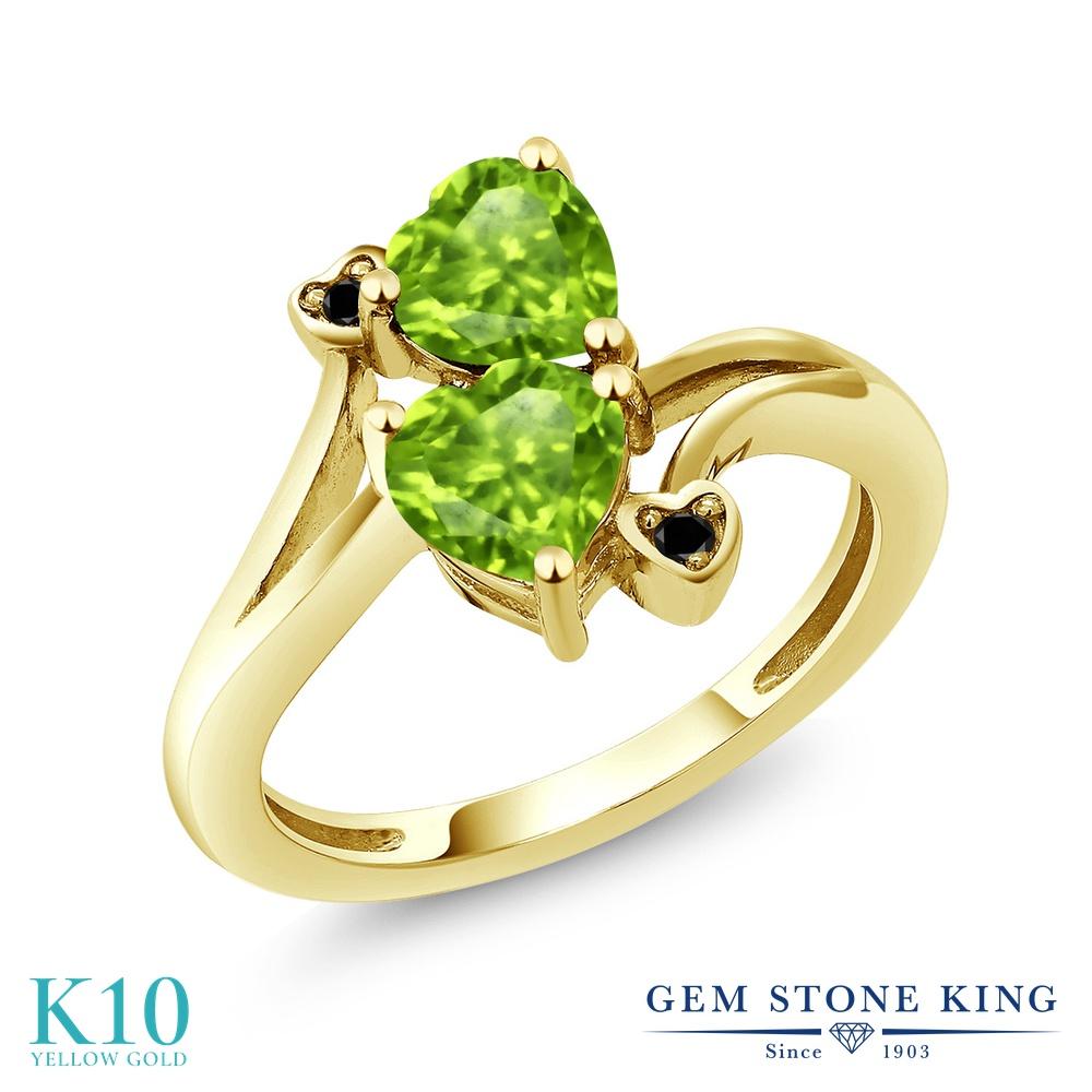 【10%OFF】 Gem Stone King 1.69カラット 天然石 ペリドット ブラックダイヤモンド 指輪 リング レディース 10金 イエローゴールド K10 ダブルストーン 8月 誕生石 クリスマスプレゼント 女性 彼女 妻 誕生日