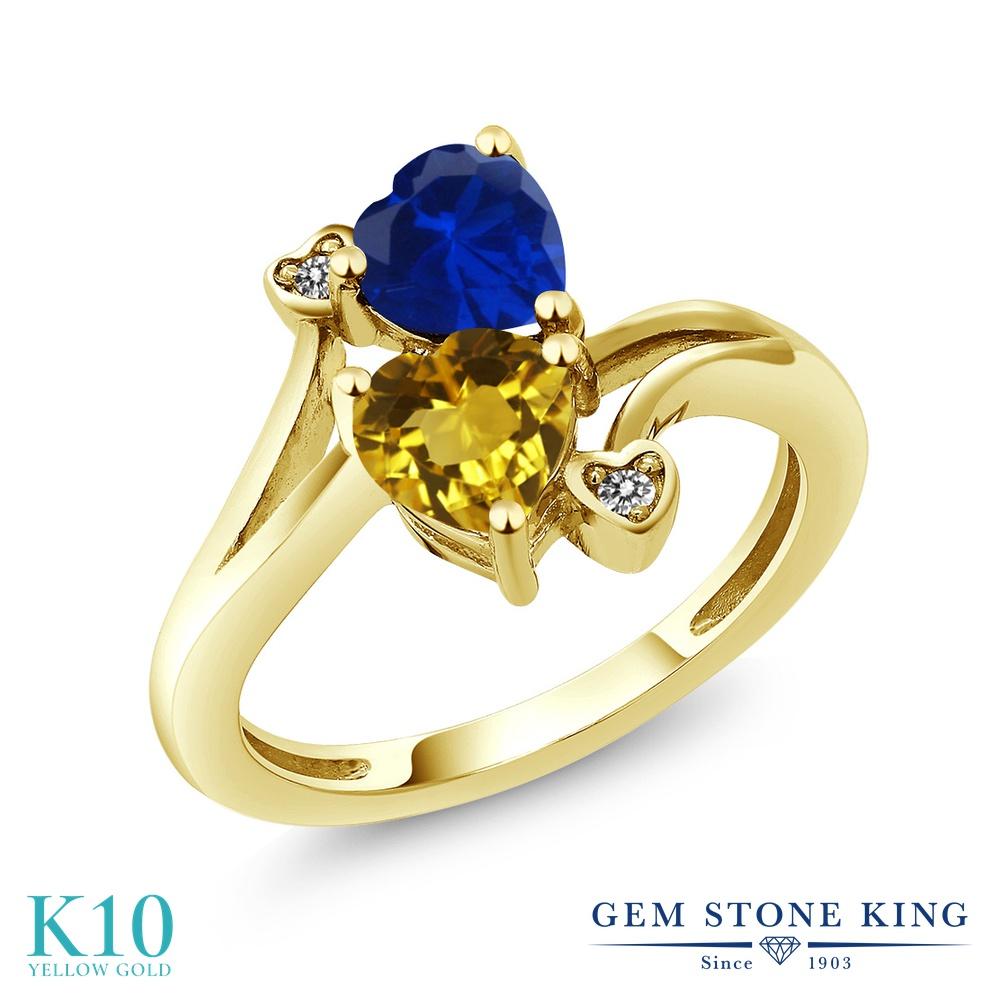 Gem Stone King 1.53カラット 天然 シトリン シミュレイテッド サファイア 天然 ダイヤモンド 10金 イエローゴールド(K10) 指輪 リング レディース ダブルストーン 天然石 11月 誕生石 金属アレルギー対応 誕生日プレゼント