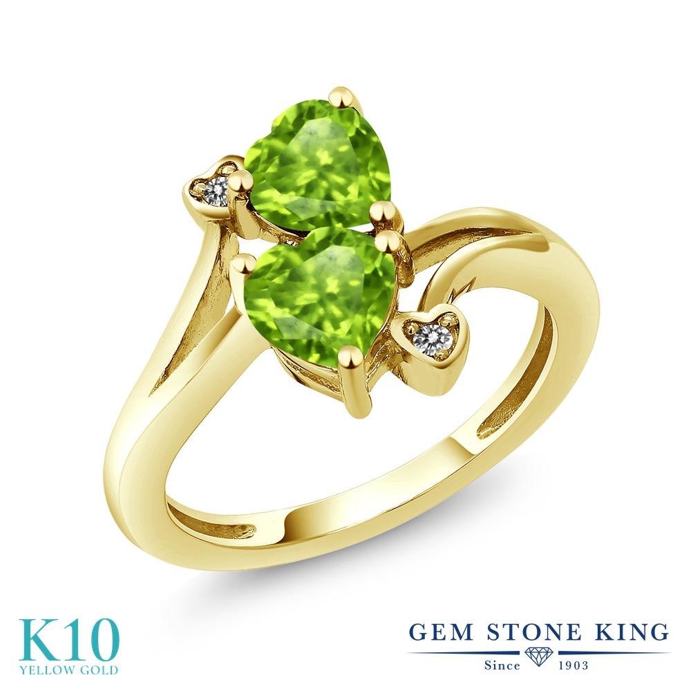 【10%OFF】 Gem Stone King 1.69カラット 天然石 ペリドット 天然 ダイヤモンド 指輪 リング レディース 10金 イエローゴールド K10 ダブルストーン 8月 誕生石 クリスマスプレゼント 女性 彼女 妻 誕生日