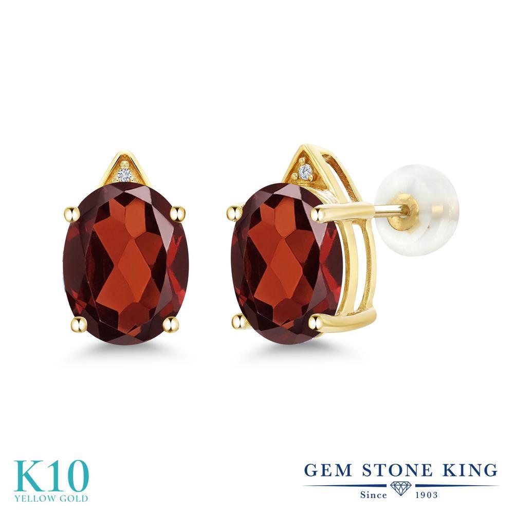 Gem Stone King 5.01カラット 天然 ガーネット 天然 ダイヤモンド 10金 イエローゴールド(K10) ピアス レディース 大粒 スタッド 天然石 1月 誕生石 金属アレルギー対応 誕生日プレゼント