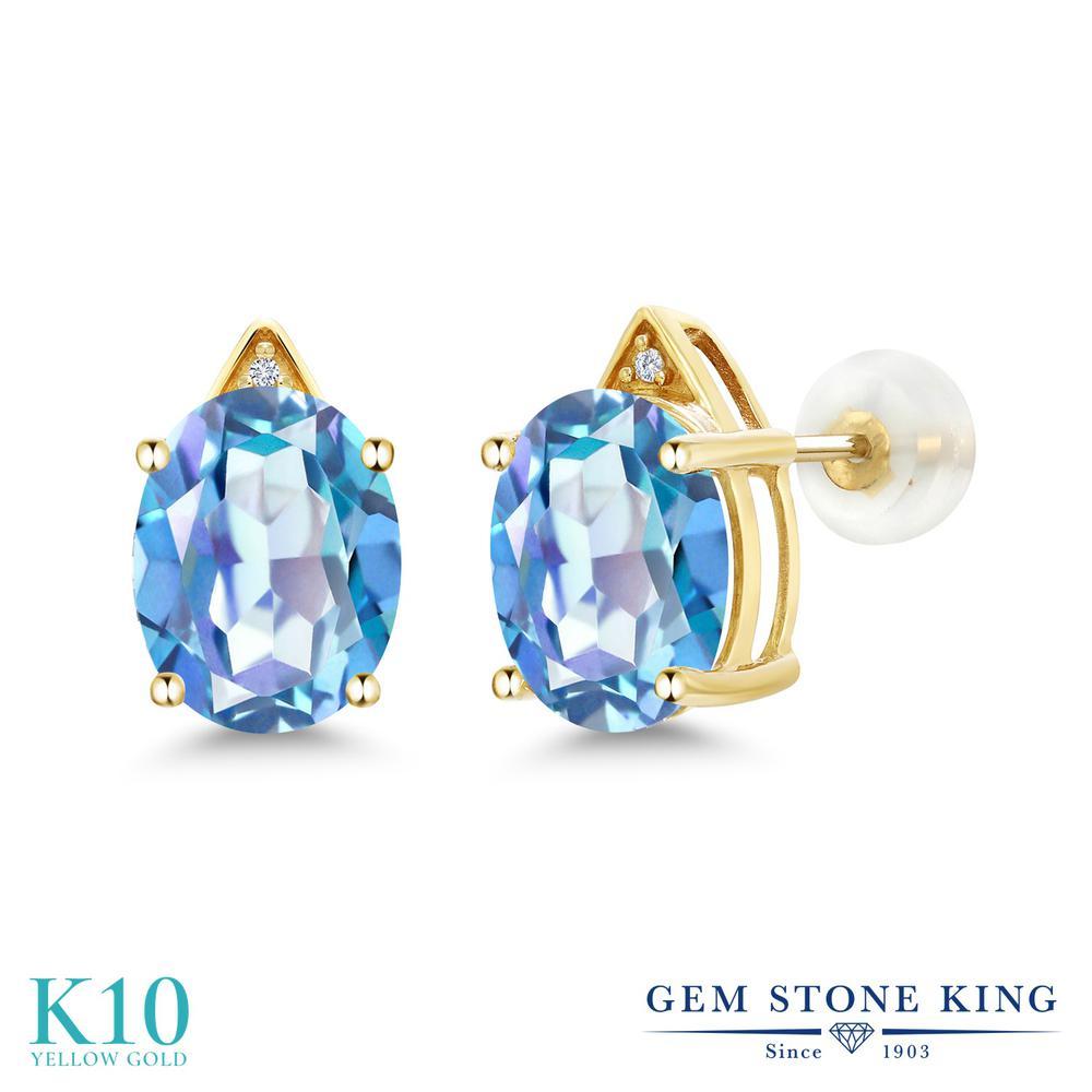 Gem Stone King 5.41カラット 天然 ミスティッククォーツ (ミレニアムブルー) 天然 ダイヤモンド 10金 イエローゴールド(K10) ピアス レディース 大粒 スタッド 天然石 金属アレルギー対応 誕生日プレゼント