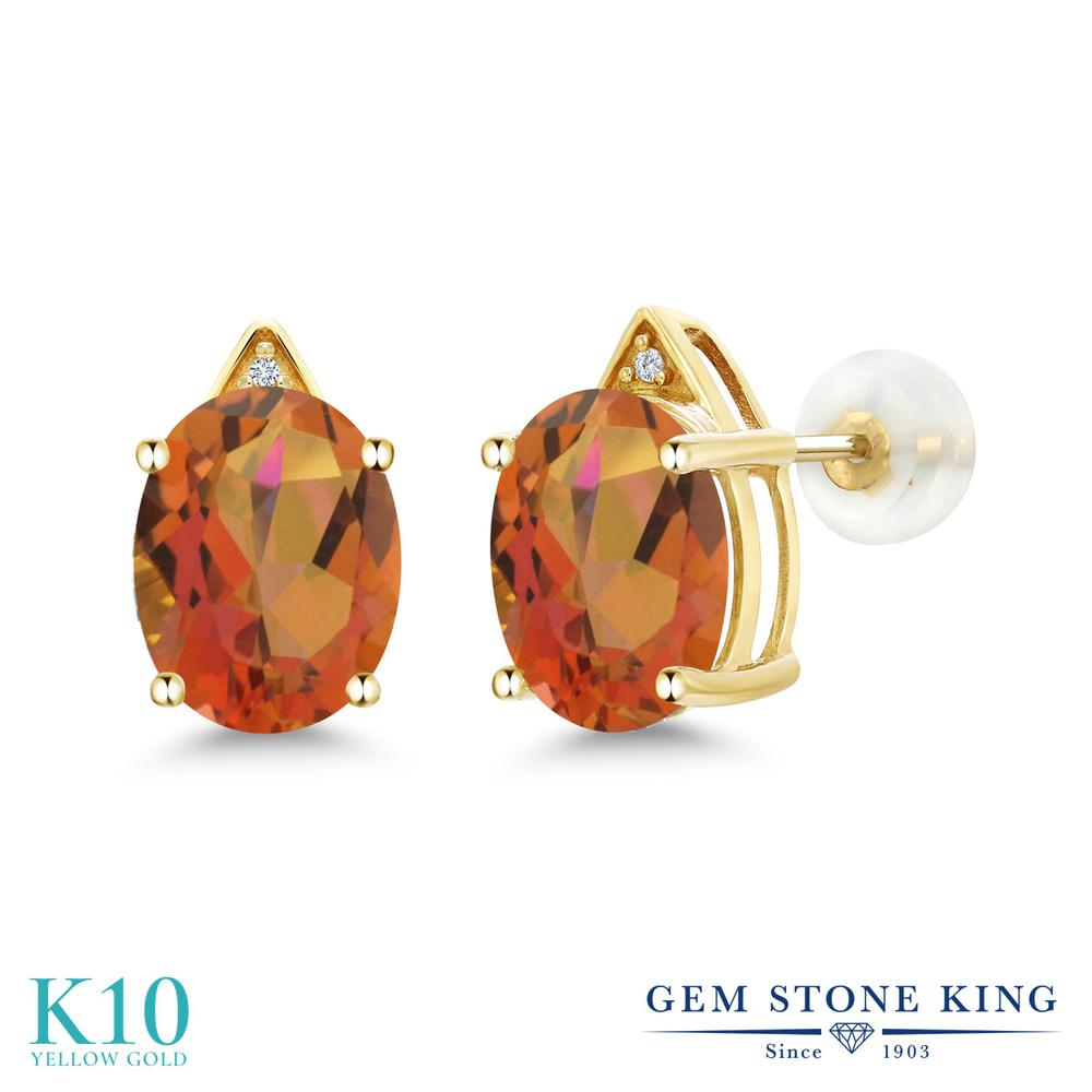 Gem Stone King 5.41カラット 天然 ミスティッククォーツ (トワイライトオレンジ) 天然 ダイヤモンド 10金 イエローゴールド(K10) ピアス レディース 大粒 スタッド 天然石 金属アレルギー対応 誕生日プレゼント