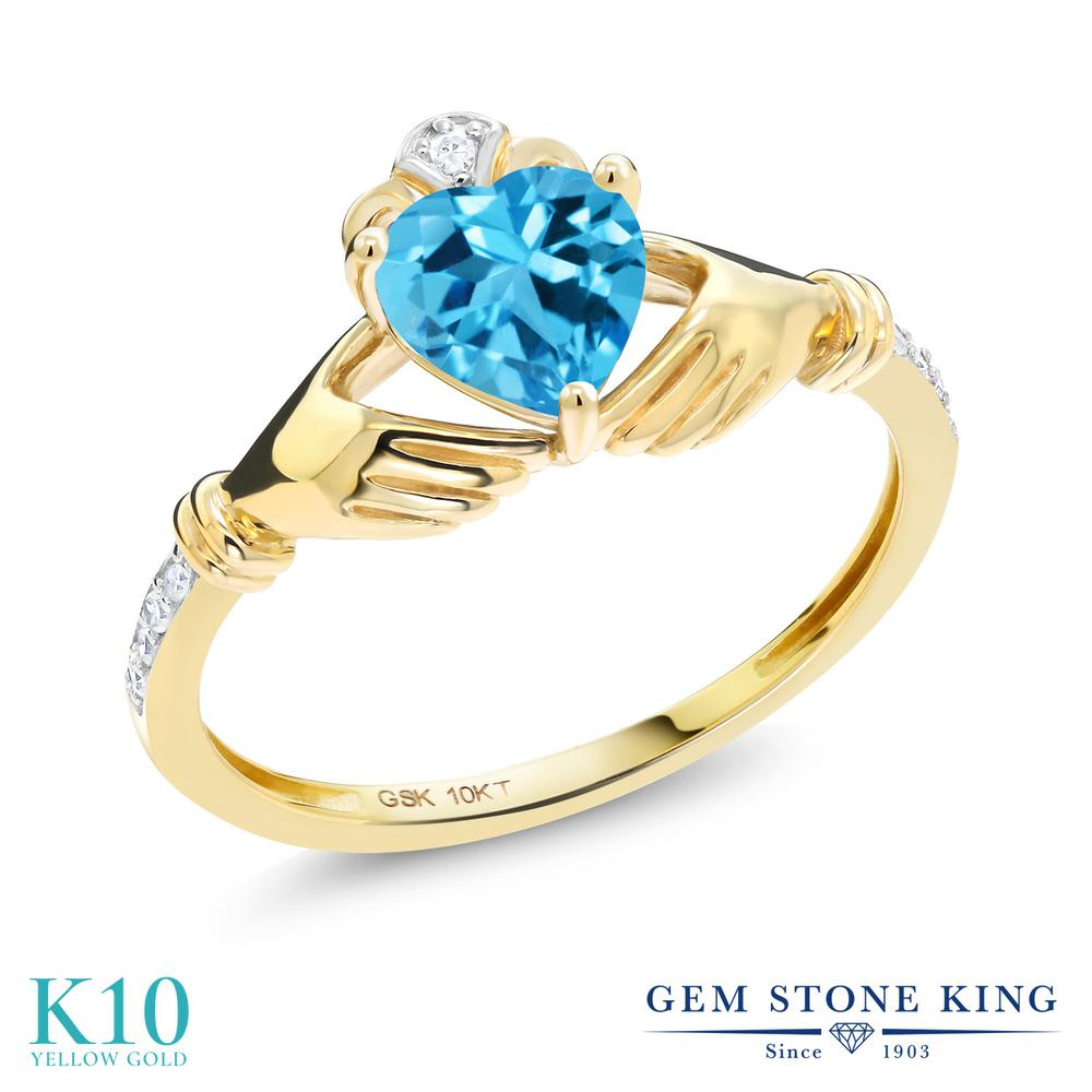 【10%OFF】 Gem Stone King 1.01カラット 天然 スイスブルートパーズ ダイヤモンド 指輪 リング レディース 10金 イエローゴールド K10 クラダ 天然石 11月 誕生石 クリスマスプレゼント 女性 彼女 妻 誕生日