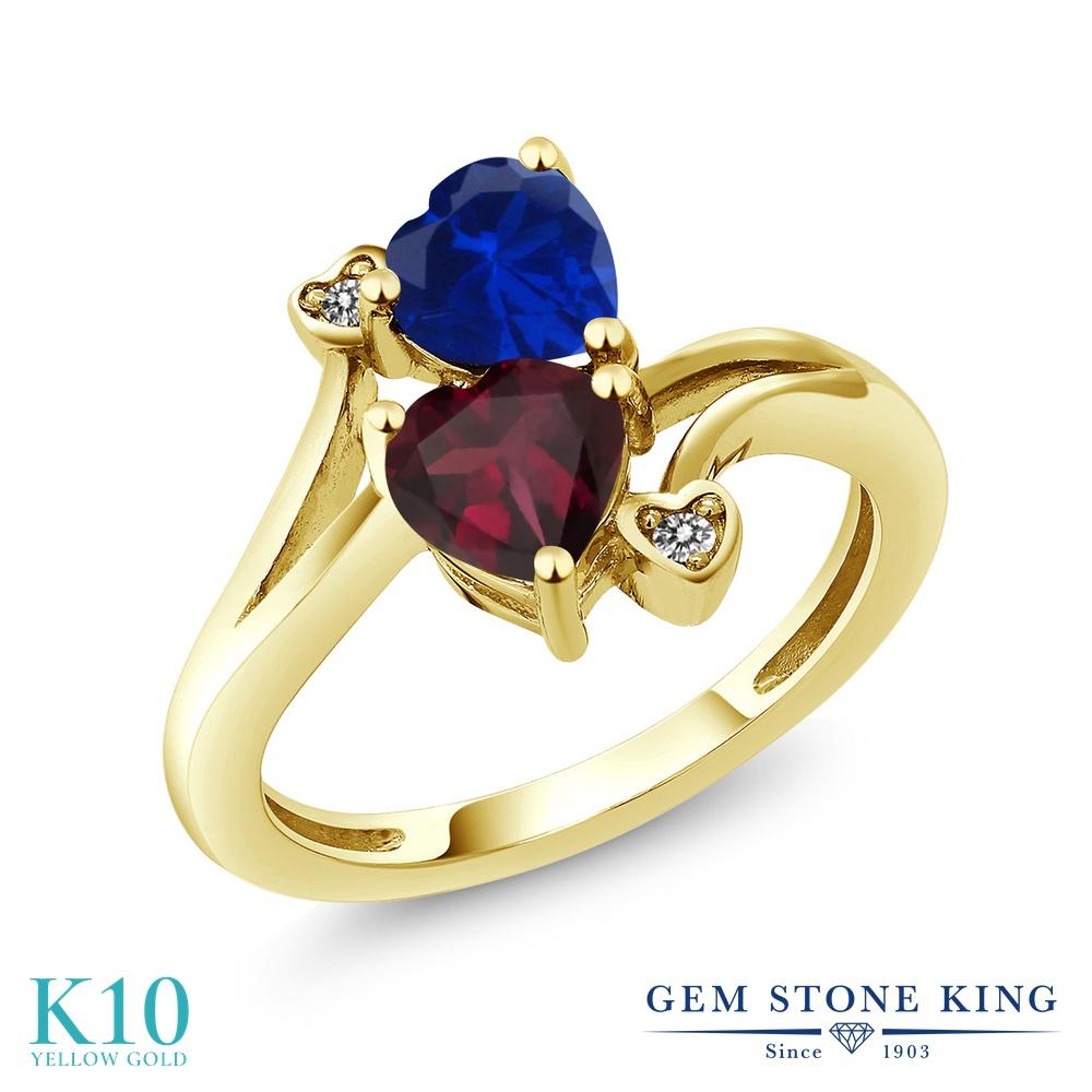 Gem Stone King 1.55カラット 天然 ロードライトガーネット シミュレイテッド サファイア 天然 ダイヤモンド 10金 イエローゴールド(K10) 指輪 リング レディース ダブルストーン 天然石 金属アレルギー対応 誕生日プレゼント