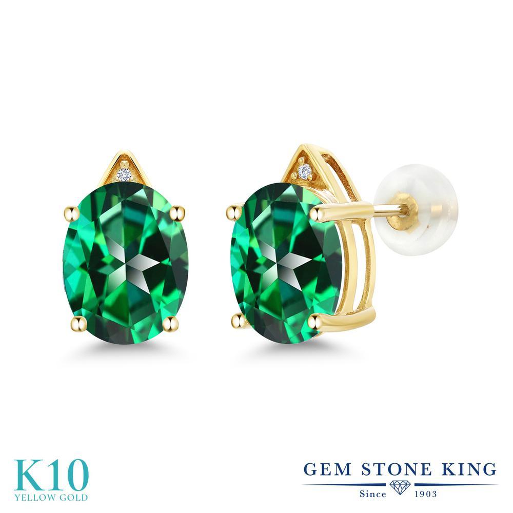 Gem Stone King 6.01カラット 天然石 トパーズ レインフォレスト (スワロフスキー 天然石シリーズ) 天然 ダイヤモンド 10金 イエローゴールド(K10) ピアス レディース 大粒 スタッド 天然石 金属アレルギー対応 誕生日プレゼント