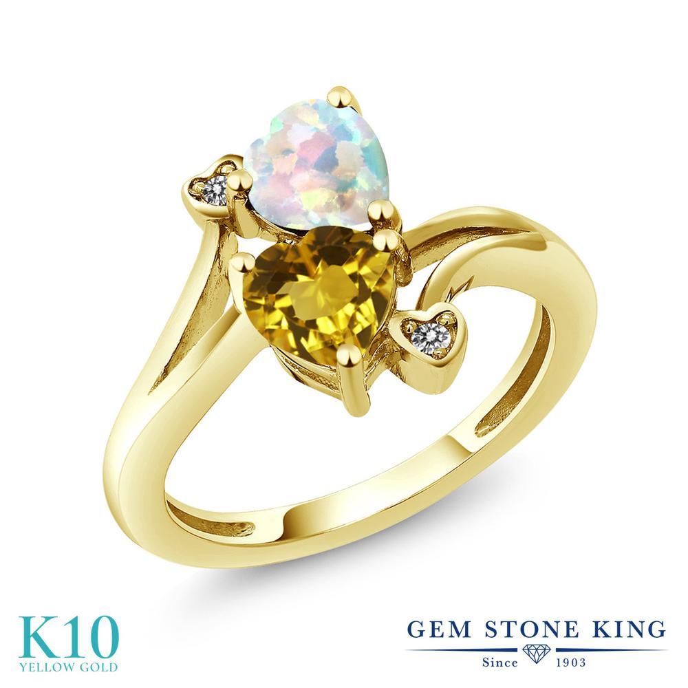 Gem Stone King 1.48カラット 天然 シトリン シミュレイテッド ホワイトオパール 天然 ダイヤモンド 10金 イエローゴールド(K10) 指輪 リング レディース ダブルストーン 天然石 11月 誕生石 金属アレルギー対応 誕生日プレゼント