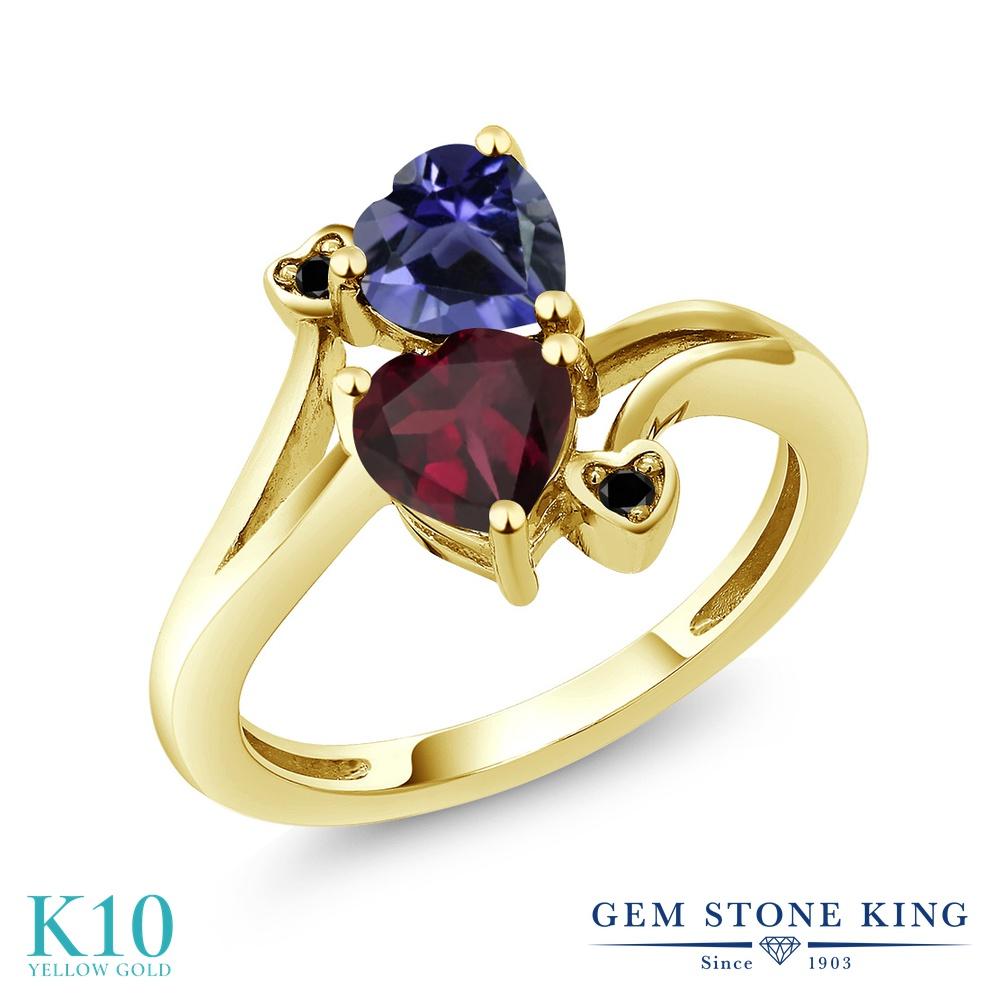 Gem Stone King 1.33カラット 天然 ロードライトガーネット 天然 アイオライト (ブルー) 天然ブラックダイヤモンド 10金 イエローゴールド(K10) 指輪 リング レディース ダブルストーン 天然石 金属アレルギー対応 誕生日プレゼント