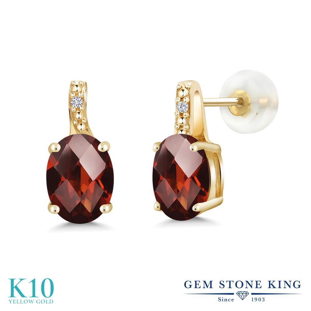 Gem Stone King 2.81カラット 天然 ガーネット 天然 ダイヤモンド 10金 イエローゴールド(K10) ピアス レディース 大粒 スタッド 天然石 1月 誕生石 金属アレルギー対応 誕生日プレゼント