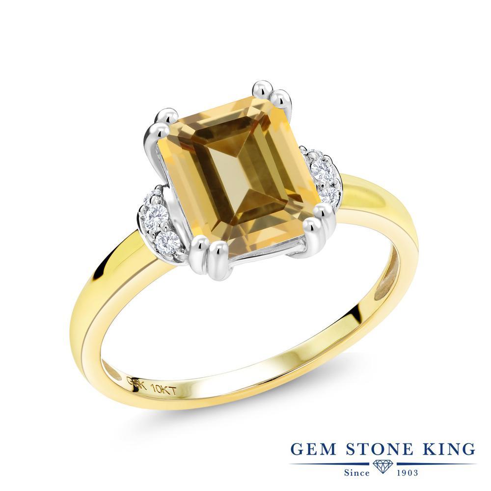 Gem Stone King 2.77カラット 天然石 トパーズ ハニースワロフスキー 天然 ダイヤモンド 10金 Two Toneゴールド(K10) 指輪 リング レディース 大粒 一粒 ソリティア 天然石 金属アレルギー対応 誕生日プレゼント