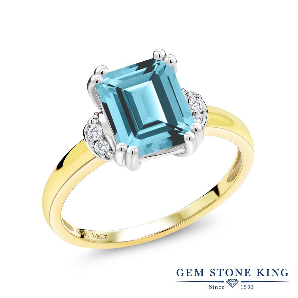 Gem Stone King 2.77カラット 天然石 アイスブルートパーズ (スワロフスキー 天然石シリーズ) 天然 ダイヤモンド 10金 Two Toneゴールド(K10) 指輪 リング レディース 大粒 一粒 ソリティア 天然石 金属アレルギー対応 誕生日プレゼント