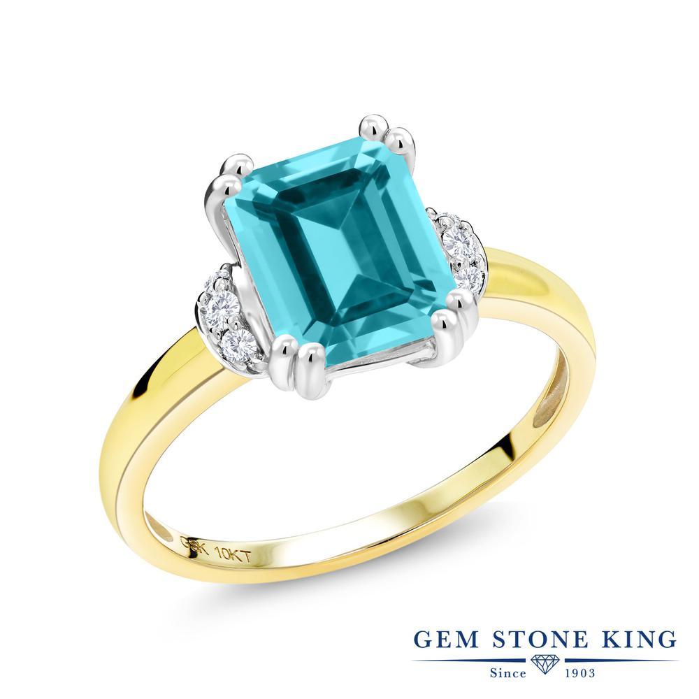 Gem Stone King 2.77カラット 天然石 パライバトパーズ (スワロフスキー 天然石シリーズ) 天然 ダイヤモンド 10金 Two Toneゴールド(K10) 指輪 リング レディース 大粒 一粒 ソリティア 天然石 金属アレルギー対応 誕生日プレゼント