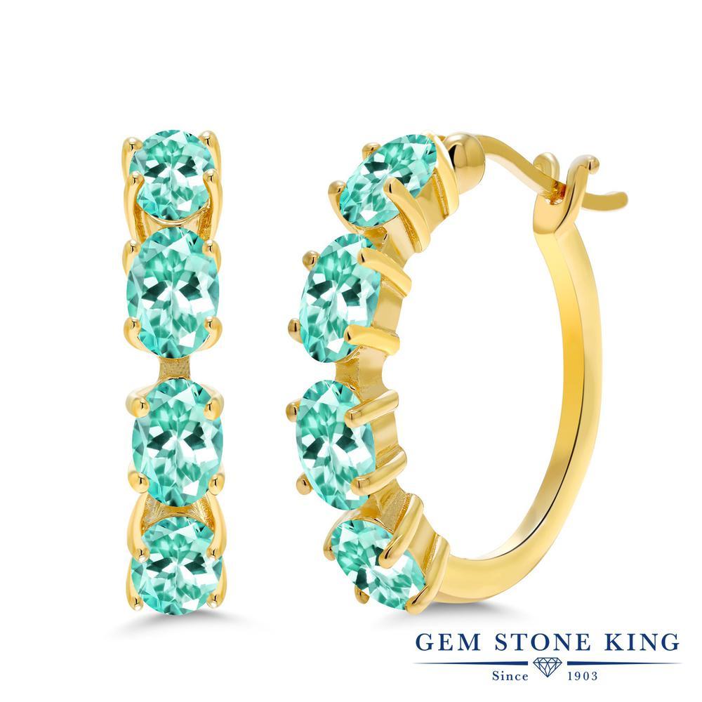 Gem Stone King 4.19カラット 天然 アパタイト シルバー925 イエローゴールドコーティング ピアス レディース フープ 華奢 細身 天然石 金属アレルギー対応 誕生日プレゼント
