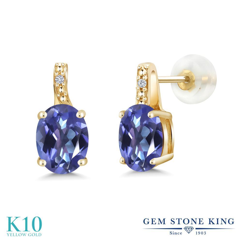 Gem Stone King 2.61カラット 天然 ミスティックトパーズ (タンザナイトブルー) 天然 ダイヤモンド 10金 イエローゴールド(K10) ピアス レディース 大粒 スタッド 天然石 金属アレルギー対応 誕生日プレゼント