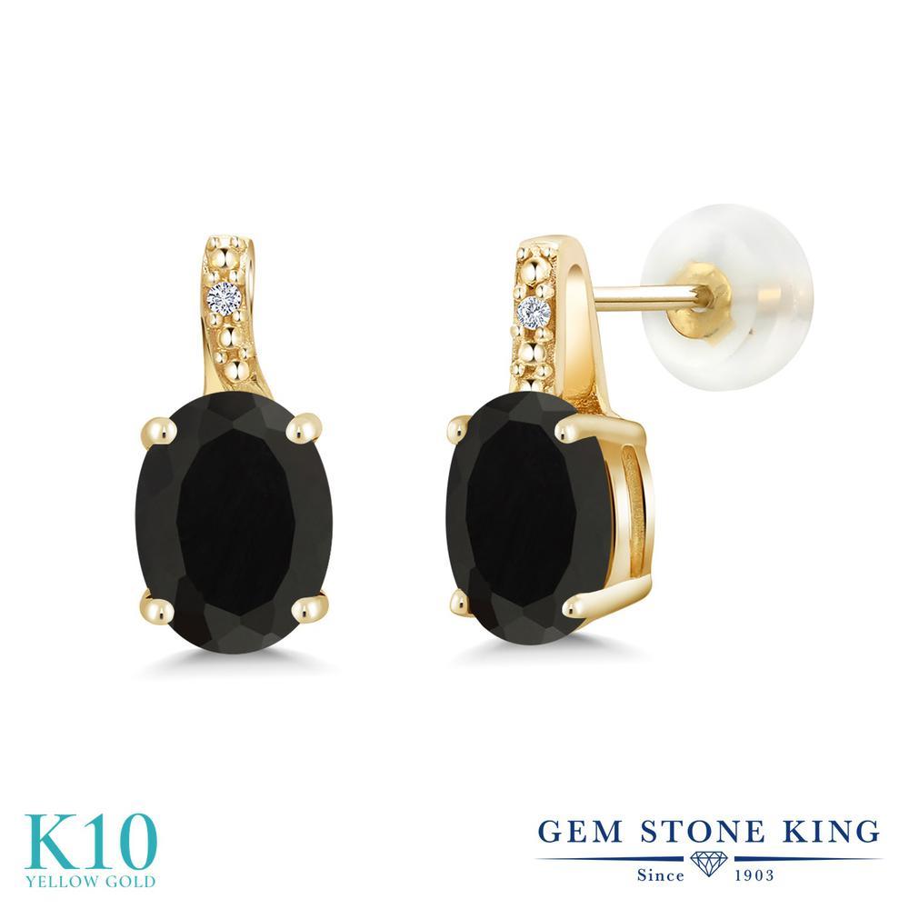 Gem Stone King 2.51カラット 天然 オニキス 天然 ダイヤモンド 10金 イエローゴールド(K10) ピアス レディース 大粒 スタッド 天然石 8月 誕生石 金属アレルギー対応 誕生日プレゼント