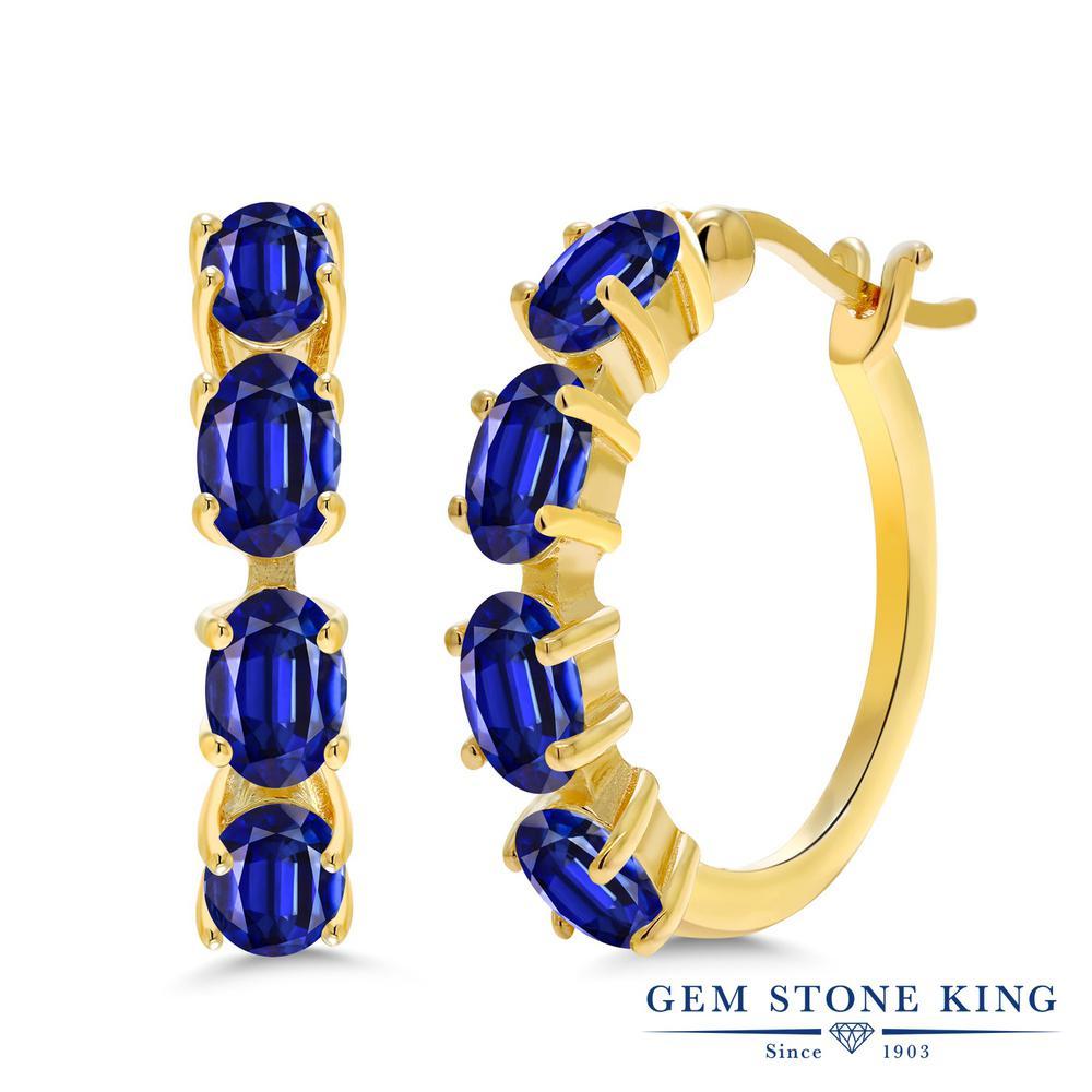 Gem Stone King 4.8カラット 天然 カイヤナイト (ブルー) シルバー925 イエローゴールドコーティング ピアス レディース フープ 華奢 細身 天然石 金属アレルギー対応 誕生日プレゼント
