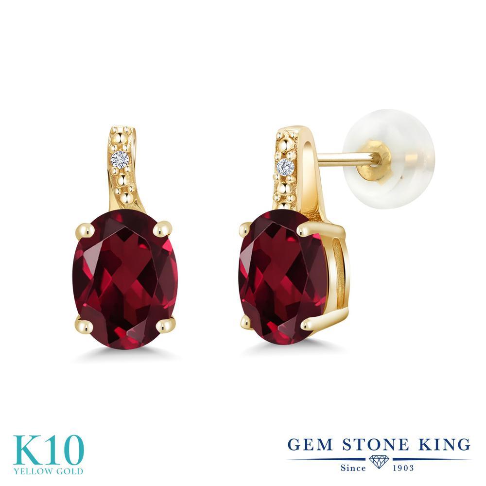Gem Stone King 2.71カラット 天然 ロードライトガーネット 天然 ダイヤモンド 10金 イエローゴールド(K10) ピアス レディース 大粒 スタッド 天然石 金属アレルギー対応 誕生日プレゼント