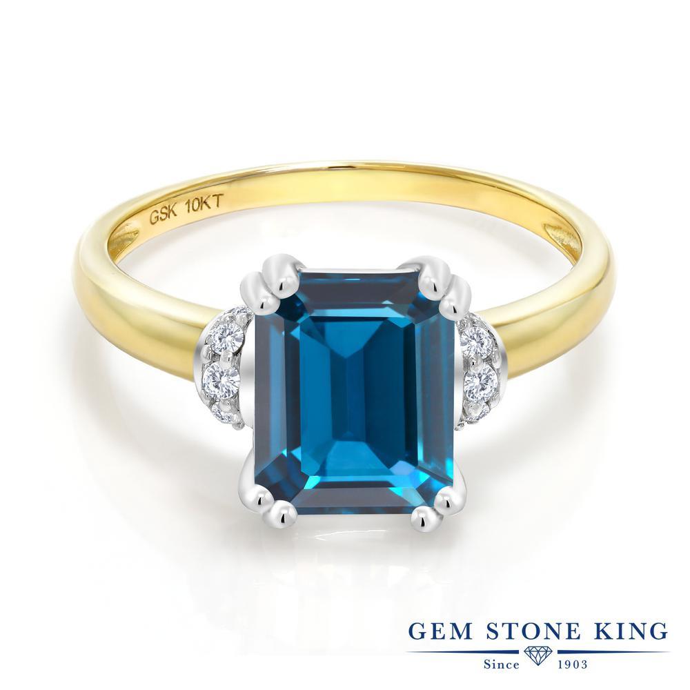 Gem Stone King 2.42カラット 天然 ロンドンブルートパーズ 天然 ダイヤモンド 10金 Two Toneゴールド(K10) 指輪 リング レディース 大粒 ソリティア 天然石 11月 誕生石 金属アレルギー対応 誕生日プレゼント