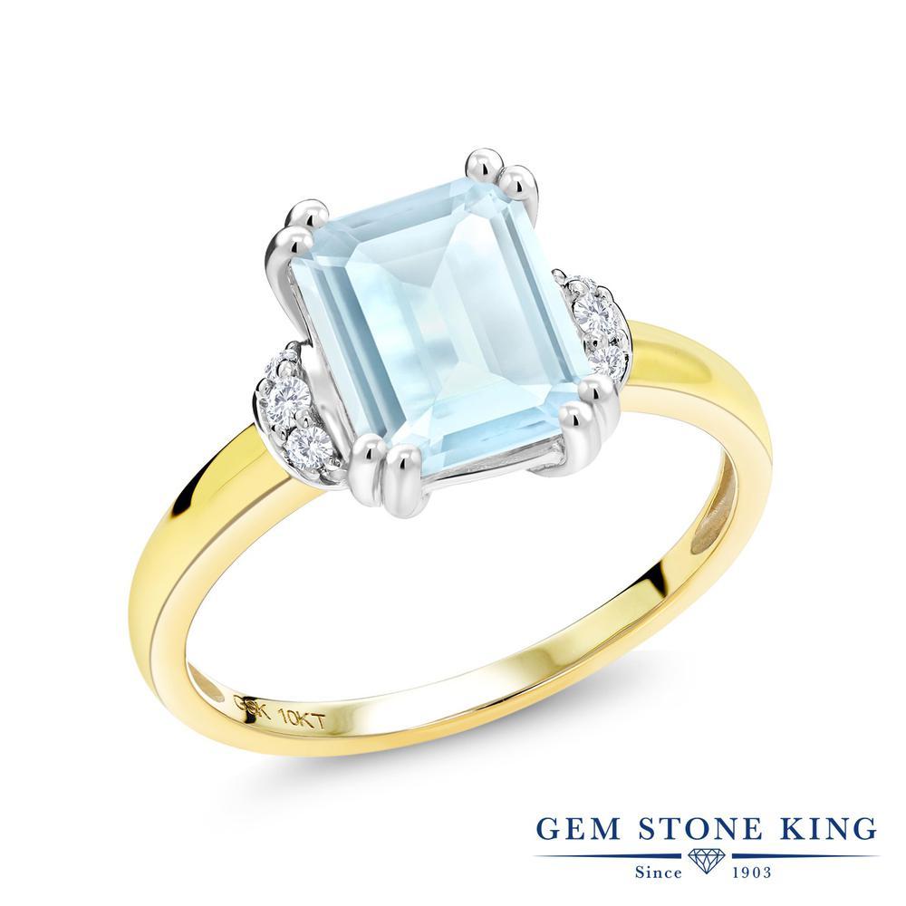 Gem Stone King 2.12カラット 天然 スカイブルートパーズ 天然 ダイヤモンド 10金 Two Toneゴールド(K10) 指輪 リング レディース 大粒 ソリティア 天然石 11月 誕生石 金属アレルギー対応 誕生日プレゼント