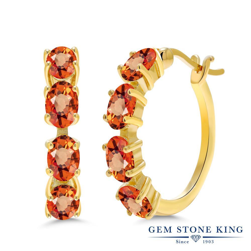 【10%OFF】 4.4カラット 天然 オレンジサファイア ピアス レディース シルバー925 イエローゴールド 加工 フープ 華奢 細身 天然石 9月 誕生石 金属アレルギー対応