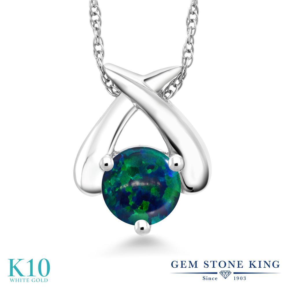 Gem Stone King 0.5カラット シミュレイテッド グリーンオパール 10金 ホワイトゴールド(K10) ネックレス ペンダント レディース 小粒 一粒 シンプル 10月 誕生石 金属アレルギー対応 誕生日プレゼント