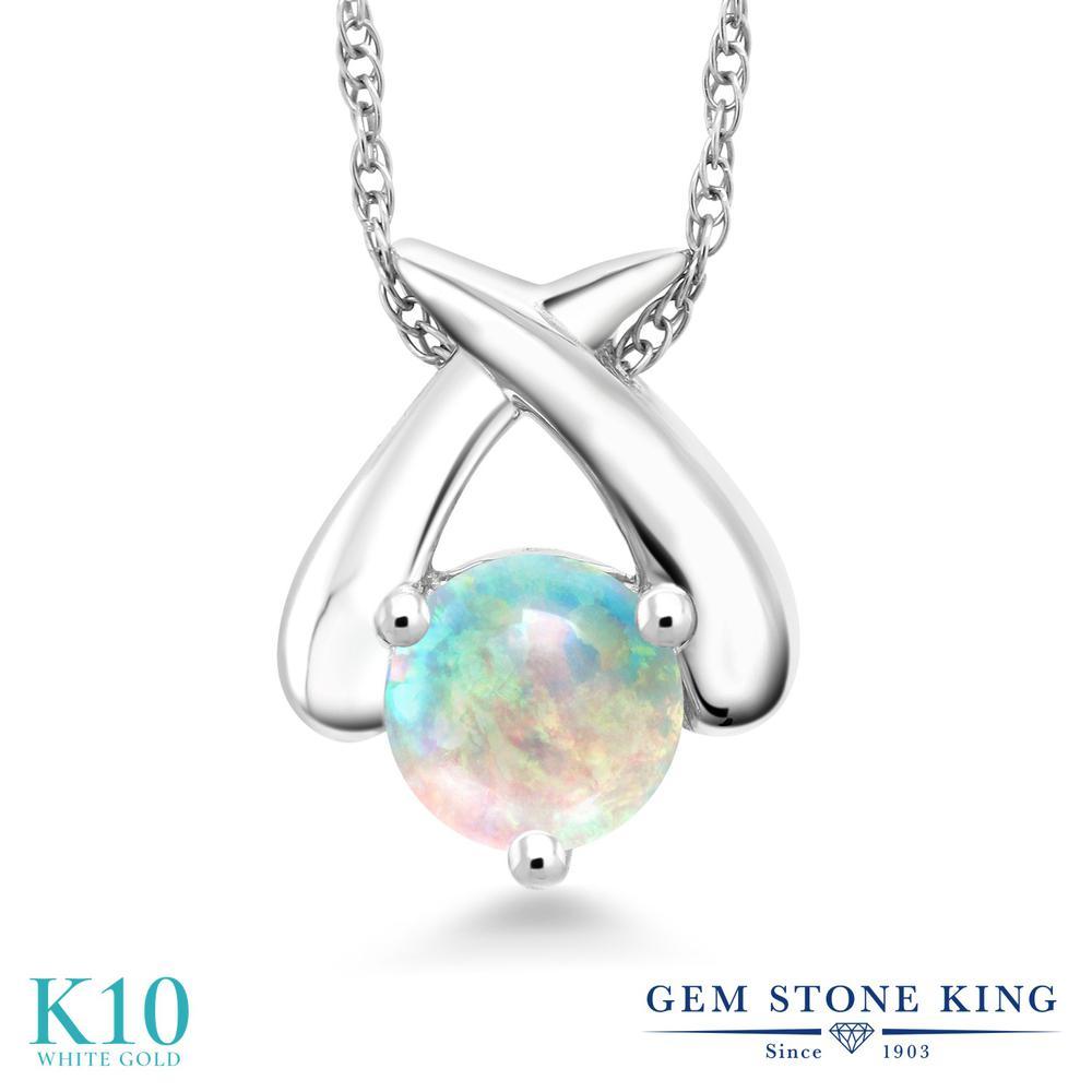 Gem Stone King 0.5カラット シミュレイテッド ホワイトオパール 10金 ホワイトゴールド(K10) ネックレス ペンダント レディース 小粒 一粒 シンプル 10月 誕生石 金属アレルギー対応 誕生日プレゼント