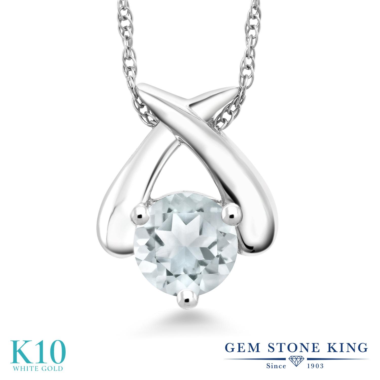 Gem Stone King 0.4カラット 天然 アクアマリン 10金 ホワイトゴールド(K10) ネックレス ペンダント レディース 小粒 一粒 シンプル 天然石 3月 誕生石 金属アレルギー対応 誕生日プレゼント