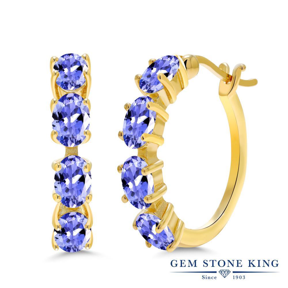 Gem Stone King 3.6カラット 天然石 タンザナイト シルバー925 イエローゴールドコーティング ピアス レディース 小粒 フープ 華奢 細身 天然石 12月 誕生石 金属アレルギー対応 誕生日プレゼント