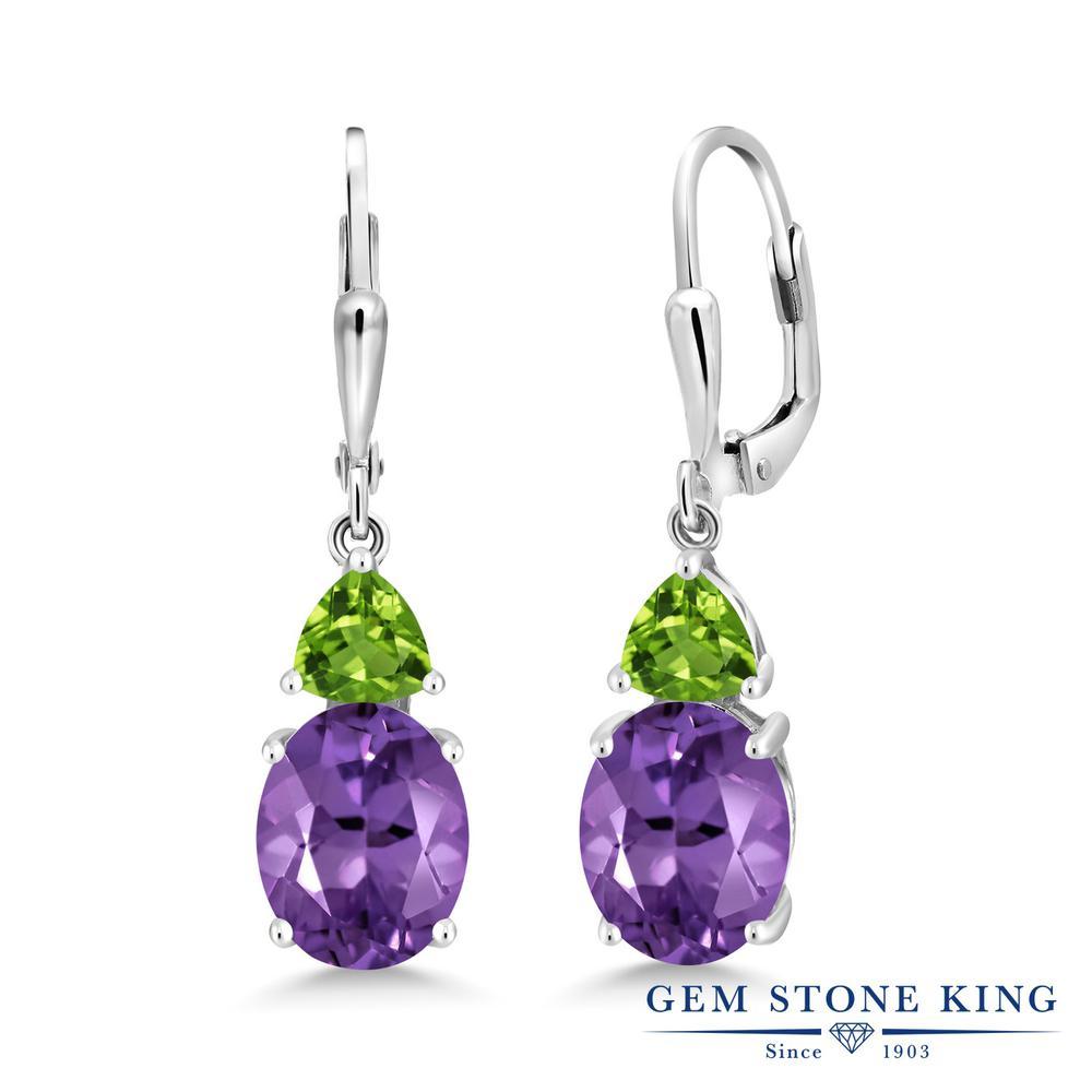 Gem Stone King 5.56カラット 天然 アメジスト 天然石 ペリドット シルバー925 ピアス レディース 大粒 レバーバック 天然石 2月 誕生石 金属アレルギー対応 誕生日プレゼント