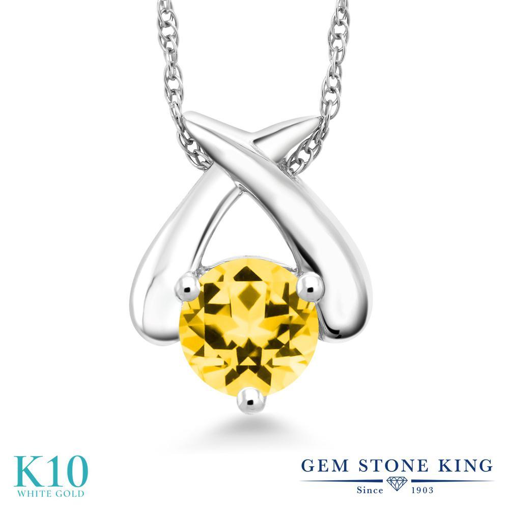 Gem Stone King 0.65カラット 天然石 トパーズ ハニースワロフスキー 10金 ホワイトゴールド(K10) ネックレス ペンダント レディース 一粒 シンプル 天然石 金属アレルギー対応 誕生日プレゼント