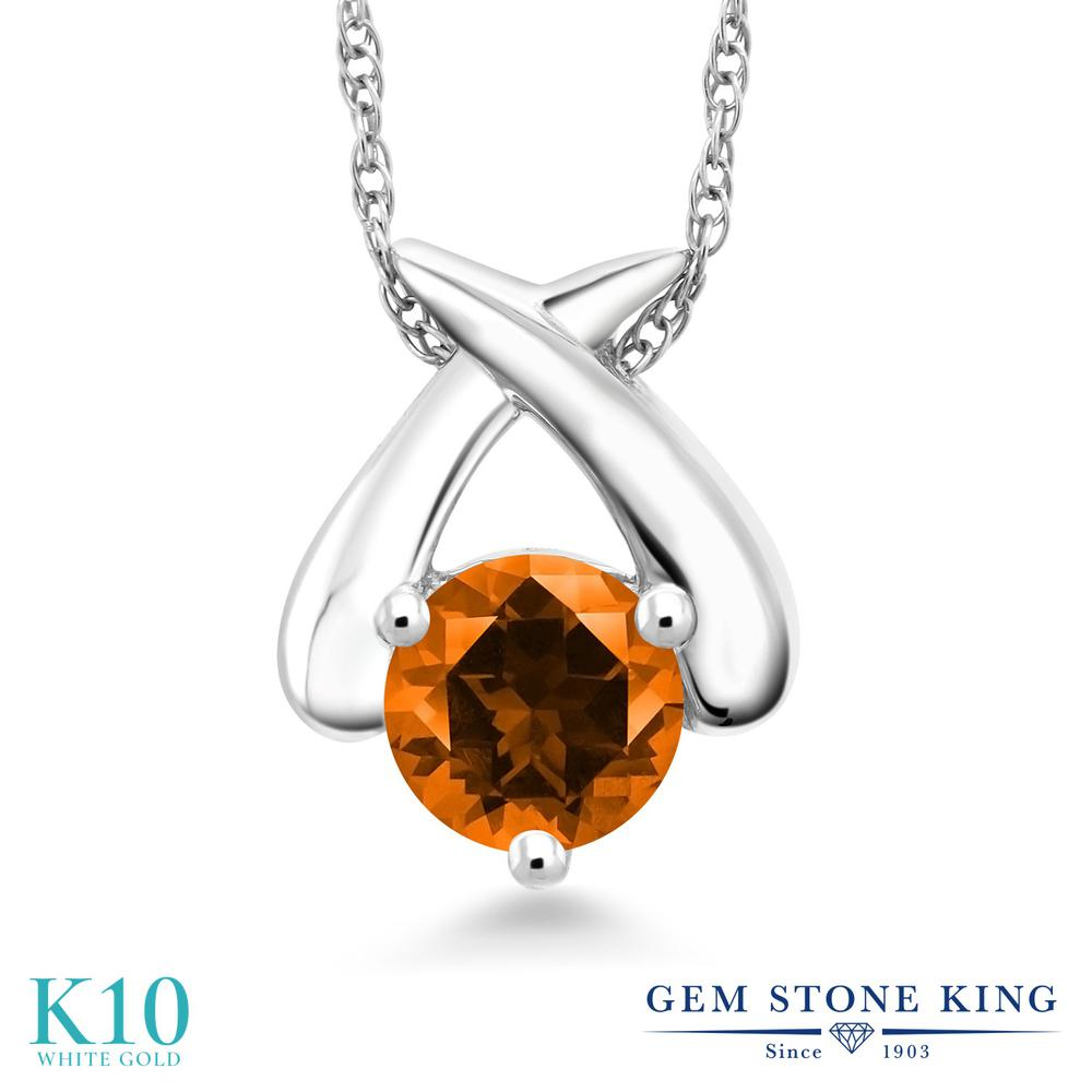 Gem Stone King 0.55カラット 天然石 トパーズ ポピー (スワロフスキー 天然石シリーズ) 10金 ホワイトゴールド(K10) ネックレス ペンダント レディース 一粒 シンプル 天然石 金属アレルギー対応 誕生日プレゼント