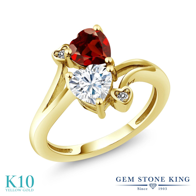 Gem Stone King 1.73カラット Forever Brilliant モアッサナイト Charles & Colvard 天然ガーネット 天然ダイヤモンド 10金 イエローゴールド(K10) 指輪 リング レディース モアサナイト ダブルストーン 金属アレルギー対応 誕生日プレゼント
