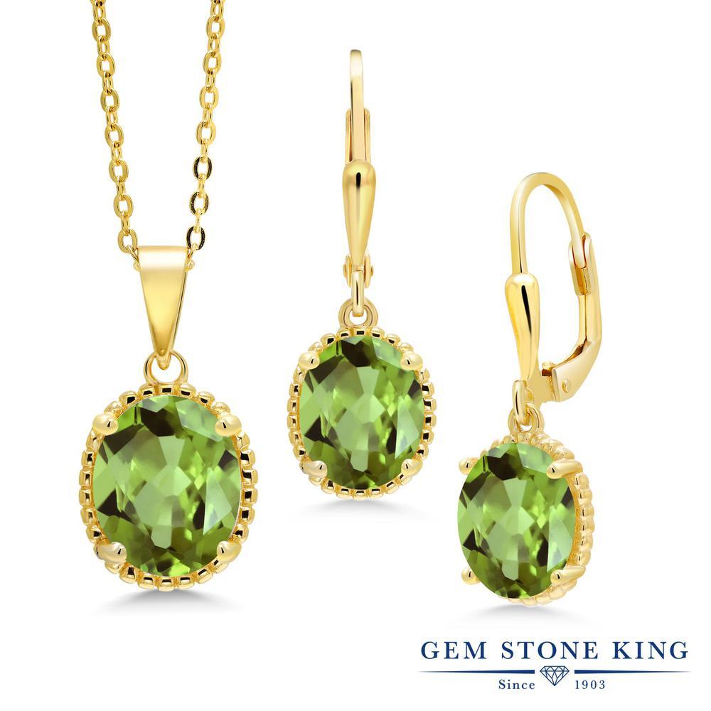 Gem Stone King 6.6カラット 天然石 ペリドット シルバー925 イエローゴールドコーティング ペンダント&ピアスセット レディース 大粒 シンプル レバーバック 天然石 8月 誕生石 金属アレルギー対応 誕生日プレゼント