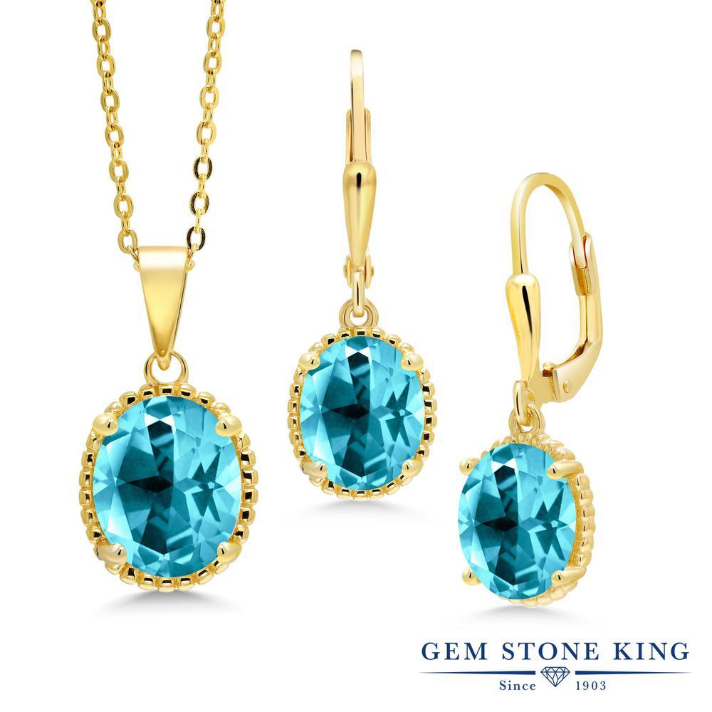 Gem Stone King 8.25カラット 天然石 パライバトパーズ (スワロフスキー 天然石シリーズ) シルバー925 イエローゴールドコーティング ペンダント&ピアスセット レディース 大粒 シンプル レバーバック 天然石 金属アレルギー対応 誕生日プレゼント