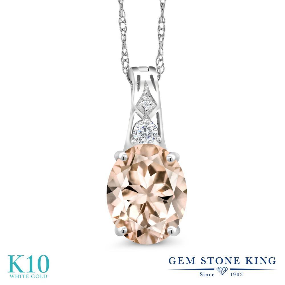 【クーポンで10%OFF】 Gem Stone King 2.77カラット 天然モルガナイト(ピーチ) 10金 ホワイトゴールド(K10) 天然ダイヤモンド ネックレス ペンダント 大粒